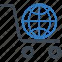 ecommerce, global shopping, international shipping, shopping cart icon