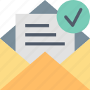 approve, confirmation, envelope, letter, mail, message, submit icon