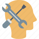 customer, head, help, information, service, support, tools icon