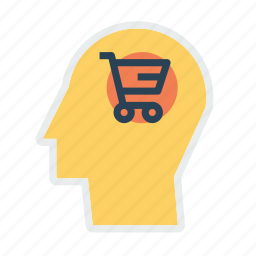 brain, cart, discount, human, mind, shop, user icon