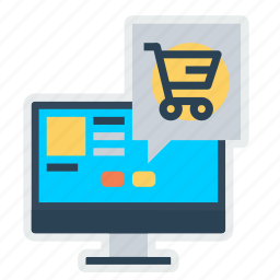 chat, laptop, mail, notification, offer, shop, shopping icon