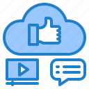 cloud, connection, internet, media, message icon