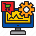 cart, ecommerce, gear, graph, shopping icon