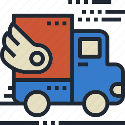fast, shipping, transportation, truck, wing icon