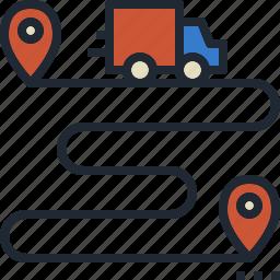 area, destination, location, route, shipping icon