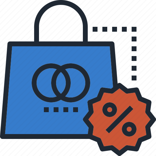 bag, discount, percent, sale, shopping icon