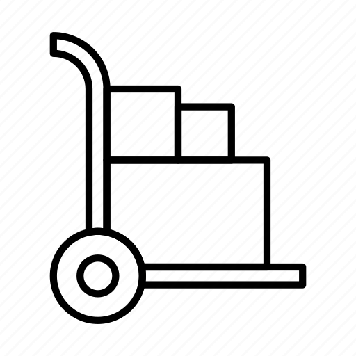 cart, hand, truck, warehouse icon