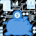 bank, dollar, money, piggy, receipt, savings, shop