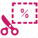 coupon, cut, discount, discount voucher, offer, rebate, shopping icon