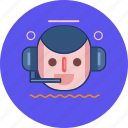 circle, cs, customer service, face, headphone icon