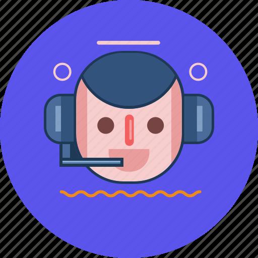 circle, cs, customer service, face, headphone icon