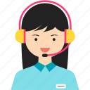 customer service, girl, headphone, headset, person, woman, work icon