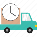 box, delivery, lorry, shipping, shopping, time, truck icon