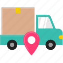 box, delivery, location, lorry, shipping, shopping, truck icon