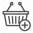 add, basket, plus, shopping, shopping basket icon