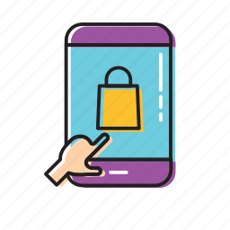click mobile, commerce, mobile, mobile shop icon