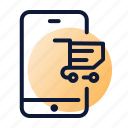 basket, mobile, online shopping, shopping icon