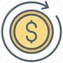 cash, color, dollar, ecommerce, money, recurring, restore icon