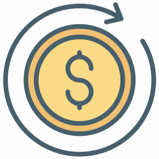 cash, color, dollar, ecommerce, money, recurring, restore icon