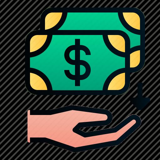 business, cashback, dollar, ecommerce, finance, hand, money icon