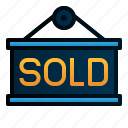 commerce, e, label, shopping, signage, sold icon
