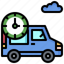 clock, commercial, delivery, logistics, time, transport, truck icon
