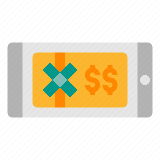 card, cash, ecommerce, gift, money, smartphone icon