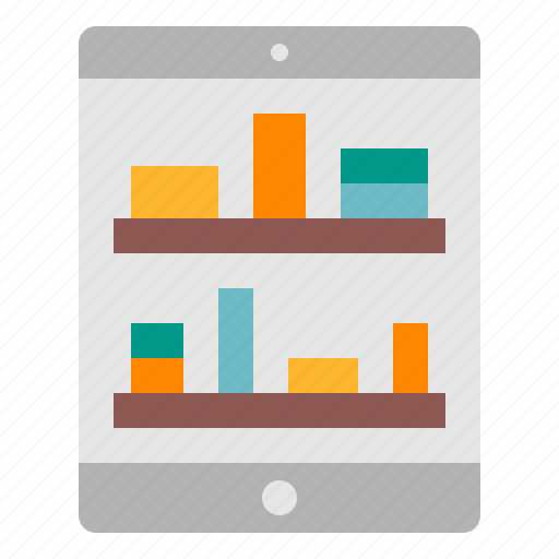 ecommerce, online, shelves, shopping, tablet icon