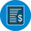 bill, billing, cash receipt, receipt icon