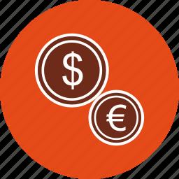coin, coins, dollar, euro icon