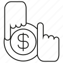 barter, coin, dollar, exchange, finger, money, swap icon