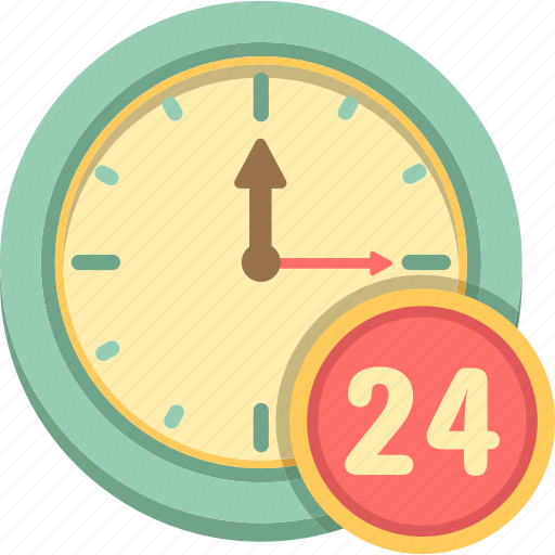 24, 24 hours, around the clock, clock, time icon