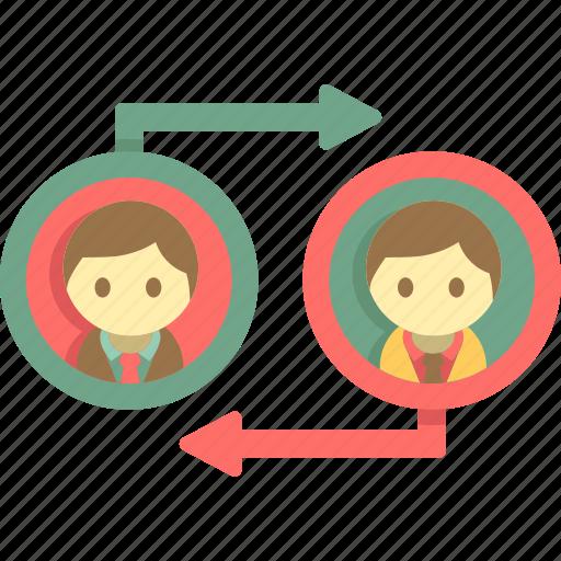 business model, c2c, consumer to consumer, customer to customer icon