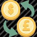exchange, dollar, dollar to pound, gbp, pound, pound to dollar, usd icon