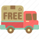 free, free delivery, free shipping, logistics, lorry, truck icon