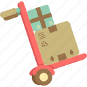 dolly, hand truck, heavy duty, trolley icon
