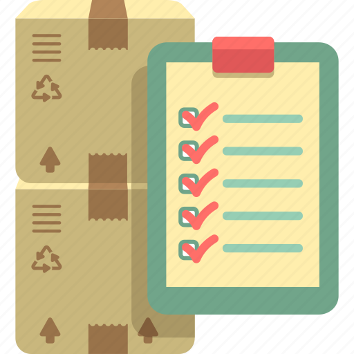 check, checklist, inventory, inventory management, parcel icon
