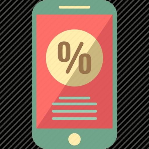 app sales, mobile discount, mobile sales, mobile voucher, percentage icon