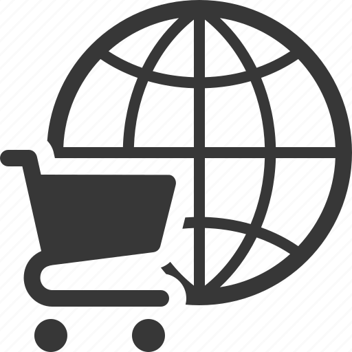 global shopping, shopping cart icon