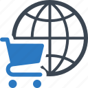 e-commerce, global shopping, shopping cart icon