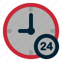 24 haours, commerce, e, hour, shop icon