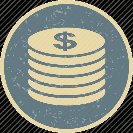 coins, dollar, finance, money icon
