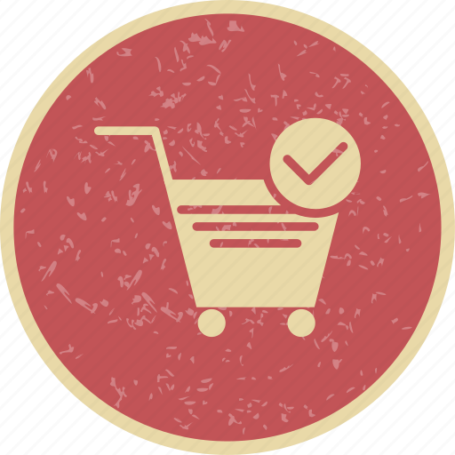 cart, online shopping, verified cart items icon