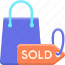 business, marketing, out, sold icon