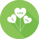 balloon, heart, heart sign, i love you, love logo icon