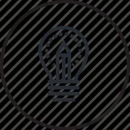 creativity, education, idea, line icon
