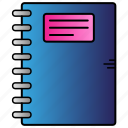 education, learning, note, notebook, study icon