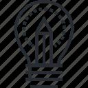 creativity, education, idea, innovation, line, thin icon