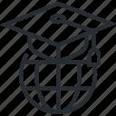 certificate, distance, education, graduate, line, thin, university icon
