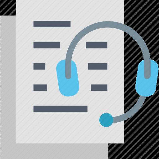 audio, course, headphones, information, lessons, listen, text icon